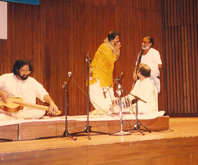 With Shri.Murrari Bapu during a concert with Pt.Vishwa Mohan Bhatt
