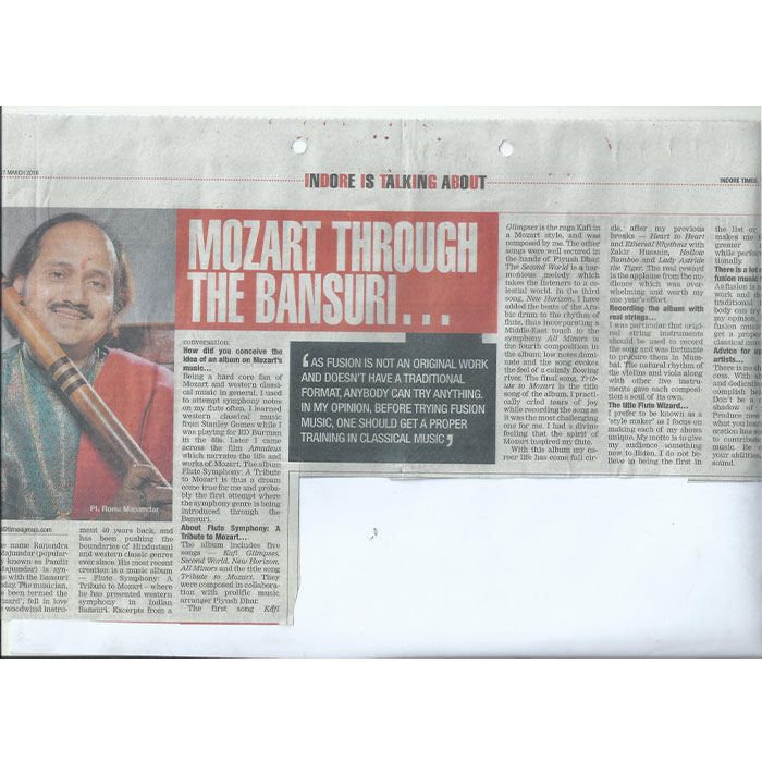Mozart thru the Bansuri Indore Times